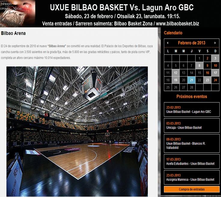 Imagen de la web donde se muestra el Bilbao Arena por dentro.