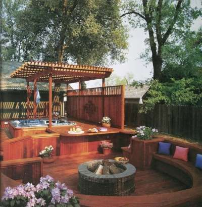 I like the hot tub built in, and the over hang. the benches are great and the fire pit