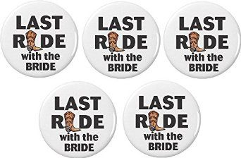 Amazon.com: QTY 5 Last Ride with the Bride Buttons Pins Western Bachelorette Party Wedding: Clothing