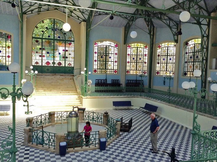 This is the glorious inside of the Termas do Peso - the mineral water source of Peso - in Melgaco, northern Portugal, right on the border with Galicia in Spain. The wrought iron and glass spa was built in 1887, according to the receptionist.