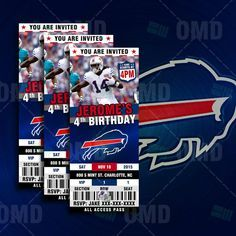 2.5x6 Buffalo Bills Sports Party Invitation by sportsinvites
