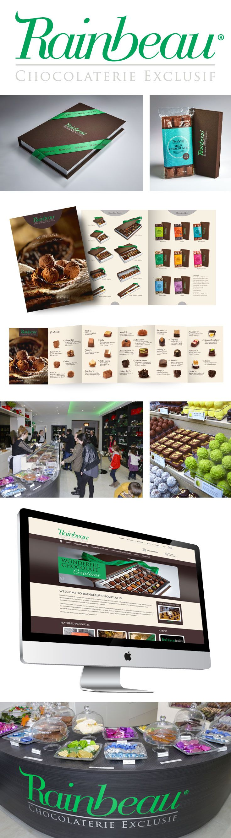 Luxury branding for exclusive Swiss chocolates for the connoisseur, to be sold on line and through the Rainbeau.