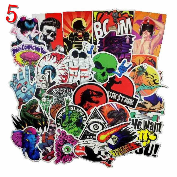 6 style 50 pcs mixed funny pvc stickers for kids Home decor jdm on laptop sticker decal fridge skateboard doodle stickers toy