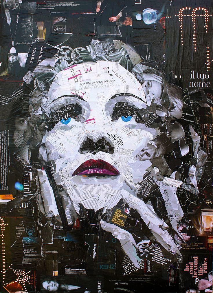 MARLENE DIETRICH Magazine Collage Quadro 80X110 cm   Realizzato esclusivamente con riviste riciclate e colla vinilica su tela. www.paolamontanaro.com