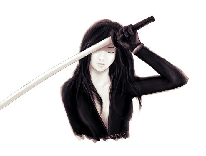 Pain #sketch #fantasy #sky #ghosts #drawing #katana #woman #warrior