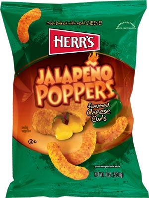 Herr's ® Jalapeno Poppers Cheese Curls Bite into one of our delicious Jalapeno Poppers Cheese Curls and it might return the favor. Because behind that big, cheddar cheesy flavor is a zesty little pinch of jalapeno pepper that packs a little zing.