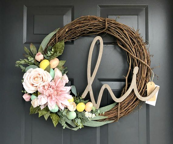 """Easter Speckled Eggs Pink /& Yellow Floral 22/"""" Round Door Wreath or Wall Decor"""