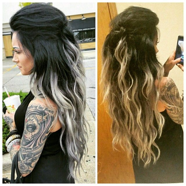 "Flashback to last week's good hair day. ""Black No.1"" @bellamihair @ssssamanthaa Samantha Silver Hair Extensions 24"" Custom cut and colored by me. Blue toned black balayaged ombre to silver."