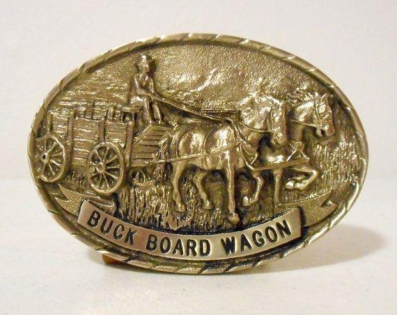 Buck Board Wagon Belt Buckle Tony Lama First by honeyblossomstudio