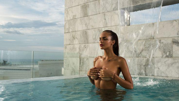mavrin, девушка, брюнетка, бассейн, вид, модель, голая, позирует, viki odintcova, виктория одинцова, обои от semenichause, обои от semenichause