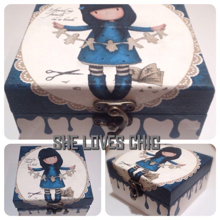 Gorjuss Girl Decoupage Hand-painted Box Blue