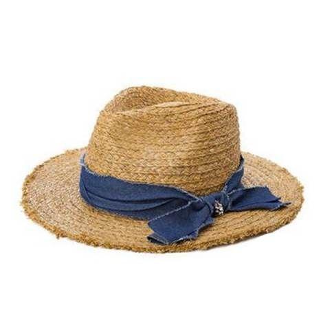 Raw Edge straw panama hat for women fashion UV denim bow sun hats