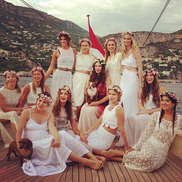 Instagram: Tatiana Santo Domingo and friends ahead of her civil wedding to Andrea Casiraghi on August. 31.