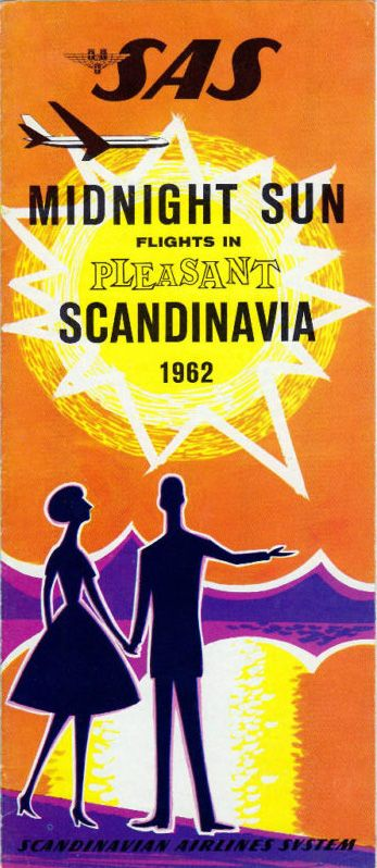 SAS (Scandinavian Airlines System) vintage travel brochure, 1962 ~ 'Midnight Sun' ~ 'Pleasant flights in Scandinavia'
