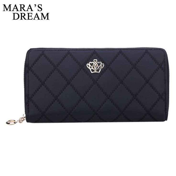 Mara's Dream Women Wallet Clutch Bag Vintage Crown Embellishment Plaid Wallets Female ID Card Holder Purse Phone Case Money Bag