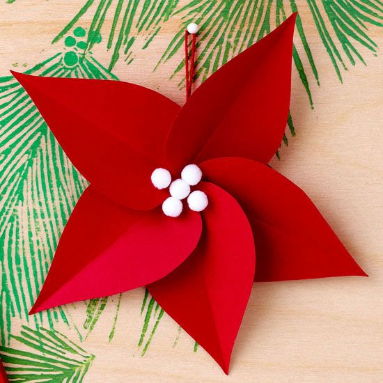 This Poinsettia Christmas Ornament can be a great party craft too! More colorful ornaments here: http://www.bhg.com/christmas/ornaments/easy-red-and-white-christmas-ornaments/?socsrc=bhgpin120113poinsettiachristmasornament&page=3