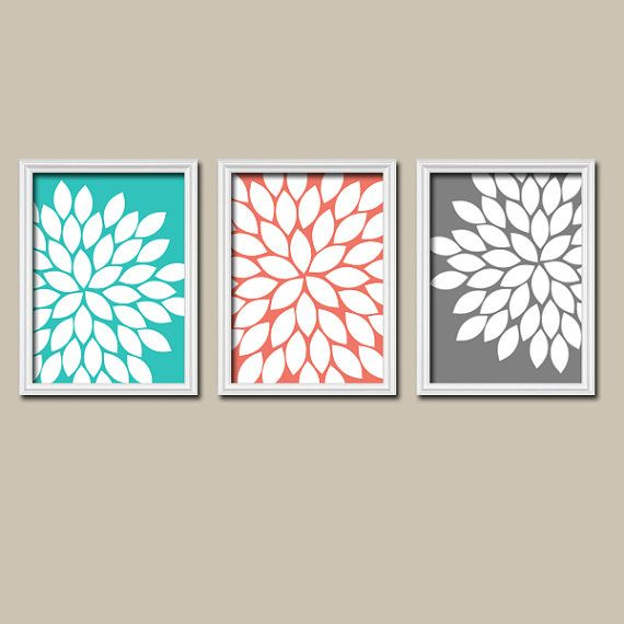 Turquoise Coral Charcoal Gray Flower Burst Dahlia Bloom Petals Artwork Set of 3 Trio Prints Wall Decor Abstract Art Picture Silhouette
