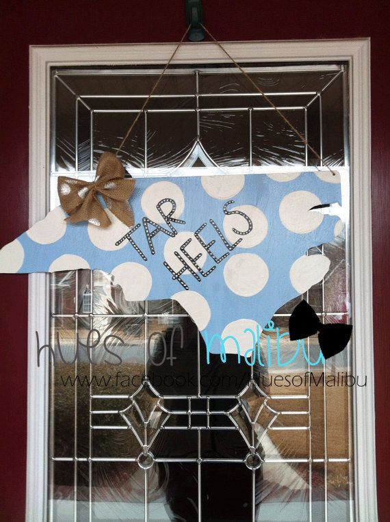 North Carolina Tar Heels Wooden Door by PinkWhimsyCollection