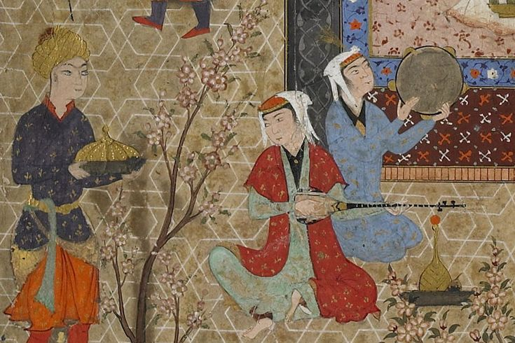 """This sixteenth-century painting from Iran depicts an allegorical court scene with musicians playing the setar and doira, or frame drum. The image is part of a mystical treatise known as the """"Effulgences [radiant splendors] of Light."""""""