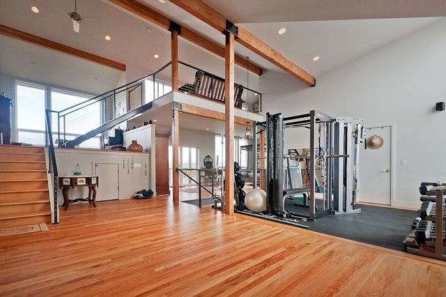 Home gym with dance floor design http homedecor