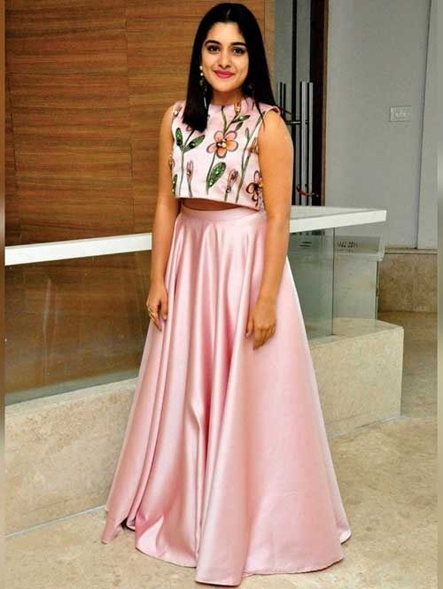 a6f57833cb707 Exclusive Niveda Thomas in Crop Top and Satin Lehenga. Floral Digital  Printed Pink Coloured Satin Silk Crop Top with Matching Digital Printed  Crop Top.