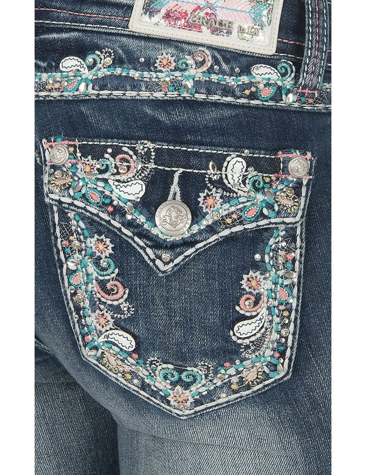 Grace in LA Women's Medium-Dark Wash with Pink and Turquoise Paisley Embroidery Flap Pocket Boot Cut Jeans   Cavender's