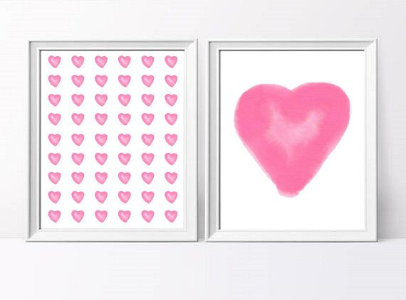 SET OF 2 Instant Digital Download Pink Watercolour Hearts Nursery Art Prints - 2 SET Printable Pink Hearts Pattern Nursery Decor Art Prints