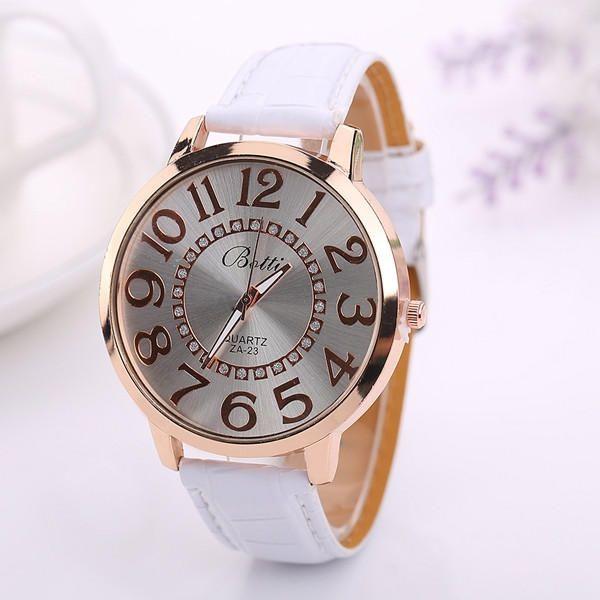 Fashion Big Number Rhinestones Dial Ladies Watch Casual Women PU Leather Analog Quartz Watch at Banggood