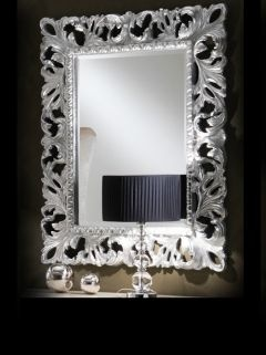 The Diva Collection Rococco Mirror is a real statement piece and of a resin structure, shown here with a silver leaf finish
