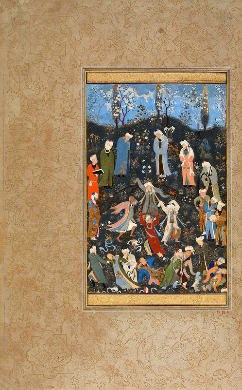 """ رقص دراویش ""، برگی از دیوان حافظ، منسوب به بهزاد، حدود 1480 میلادی، هرات ""Dancing Dervishes"", Folio from a Divan of Hafiz Painting attributed to Bihzad ?(ca. 1450–1535/36) Object Name: Folio from an illustrated manuscript Date: ca. 1480 Geography: Herat Medium: Opaque watercolor and gold on paper Dimensions: Painting: H. 6 5/16 in. (16 cm) W. 4 1/4 in. (10.8 cm)"