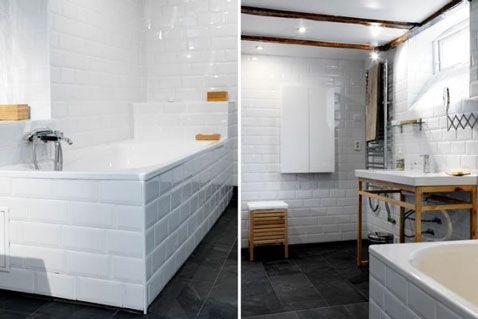 salle de bain carrelage blanc 10X15 sur murs et tablier baignoire