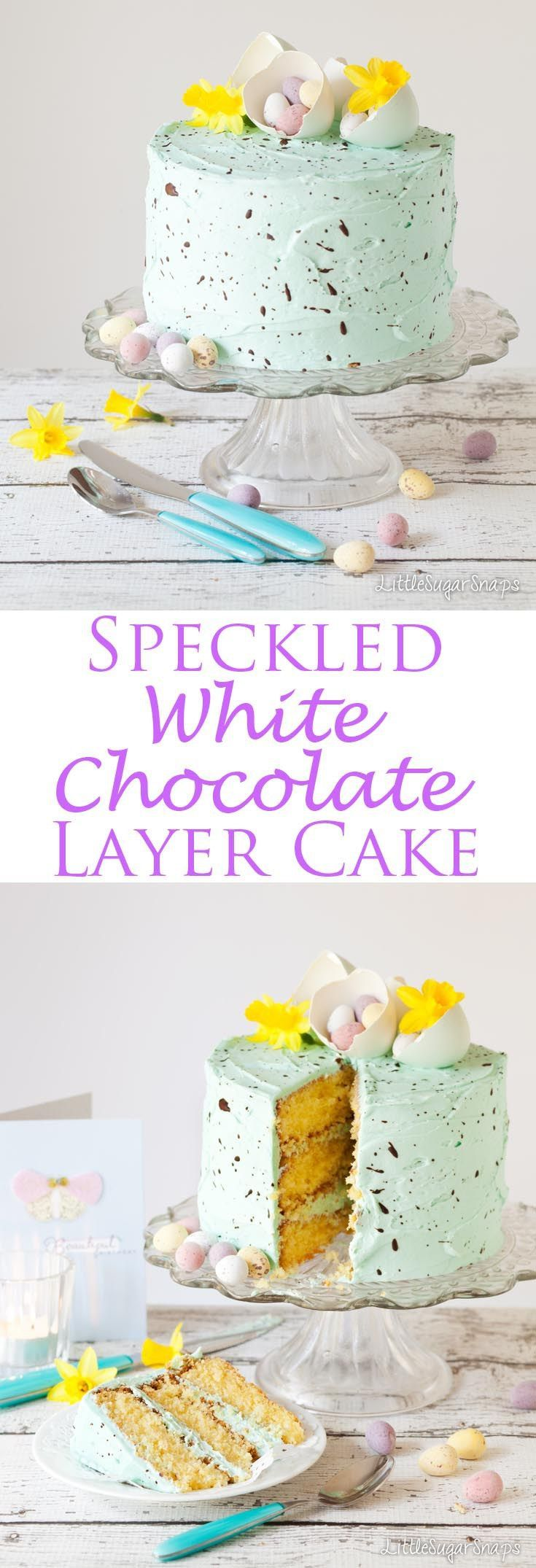 this Speckle Cake contains layers of white chocolate sponge sandwiched together with delicate pastel coloured peppermint buttercream. It's almost too pretty to eat width=