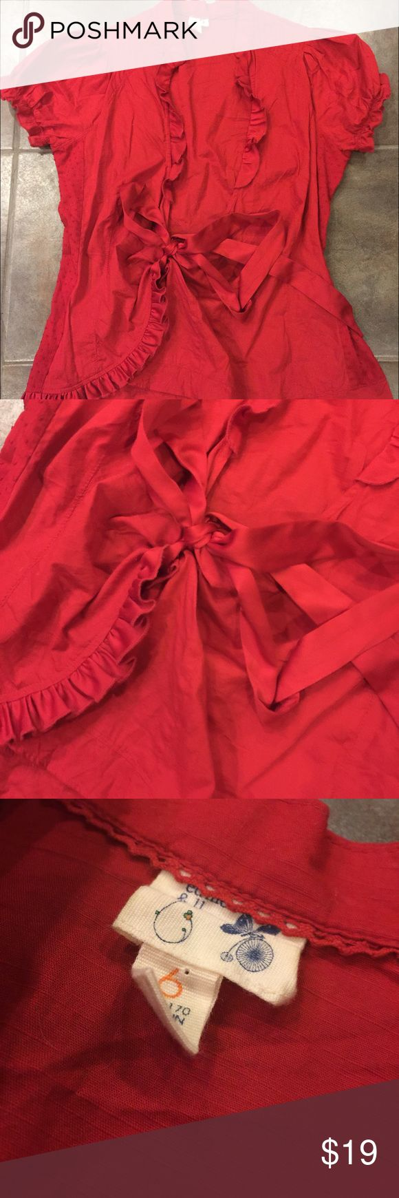 ANTHROPOLOGIE Edme & Esyllte Red Short Sleeve Top Gorgeous Short Sleeve tie front top from Anthropologie's Edme & Esyllte brand. Beautiful detailing, in excellent gently loved condition. Size 6. Anthropologie Tops