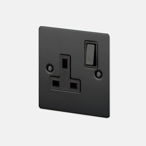 a single uk plug socket made from solid metal and finished to match our toggle switches dimmers and euro plates
