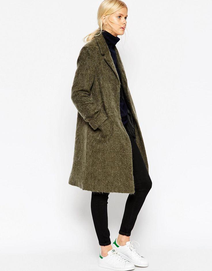 ASOS | ASOS Coat With Seam Detail In Hairy Wool at ASOS
