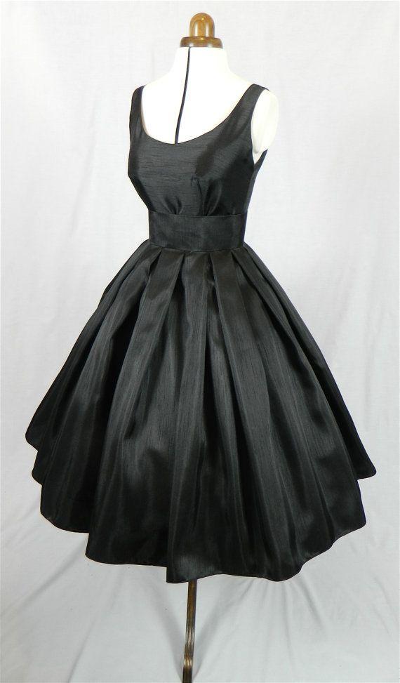 Black Shantung 1950s cocktail dress