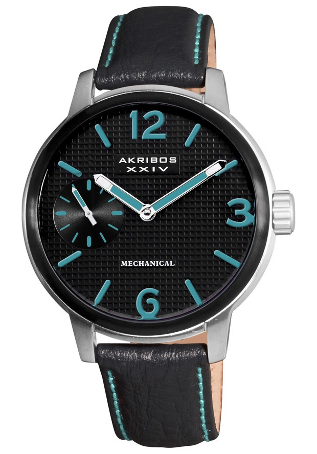 Price:$113.57 #watches Akribos XXIV AK495BU, The Akribos XXIV men's mechanical luxury watch will be a great addition to your collection. With its exhibition caseback and genuine calf skin leather strap this timepiece is sure to impress.