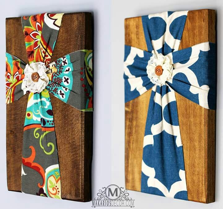 fabric cross on wood