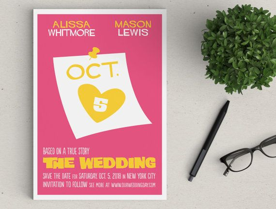 Retro Wedding Movie Poster magnetic Save the Date available as: » Professionally PRINTED* magnets mailed to you with envelopes OR » DIY/PRINTABLE FILES* emailed to you for at home printing. Dimensions » 5x7 Card Type » Flat, printed 1 side Paper » 14 pt white magnet Envelope » A7, White included DIY/Printable Options** » PDF file, 2-up per sheet or Jpeg to scale  *NON US/INTERNATIONAL ORDERS are currently PRINTABLE ONLY. **Use coupon code Printable to remove any shipping fees. ...
