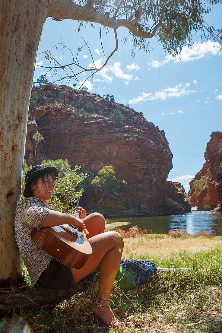 RoyalAuto, August 2016. To the Macs. Trek guide Alyssa Hawley takes a break at Ellery Creek Big Hole. Photos: Cam Cope. #northernterritory #hiking #deserthiking #larapintatrail