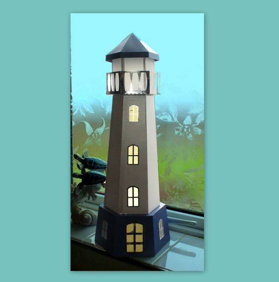 3d svg lighthouse tealight holder digital file for 3d paper lighthouse template