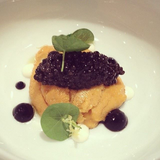 Sea urchin and osetra caviar at Caviar Russe in NYC.