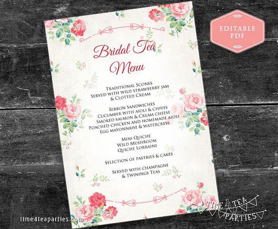 Pink Floral Tea Party Menu cards 5x7 inch. by Time4TeaParties