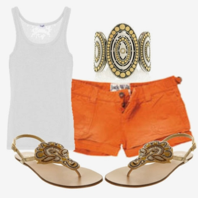 #polyvore summer orange shorts