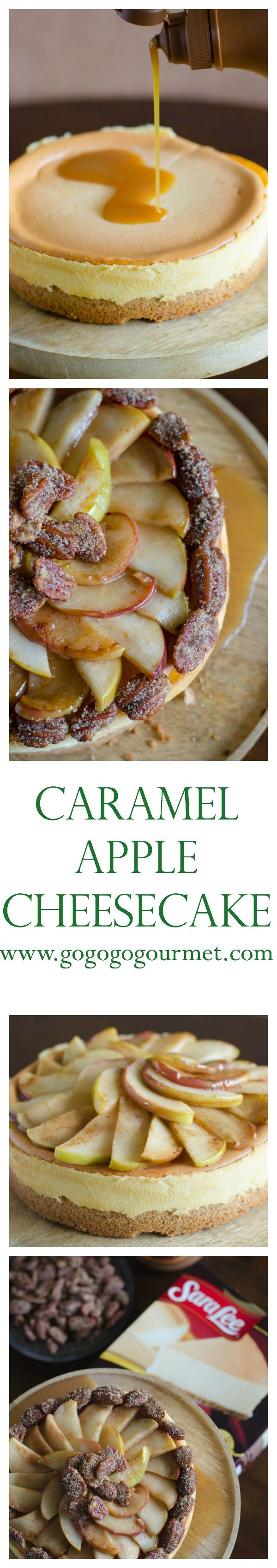 Turn a plain @saraleedesserts cheesecake into a fall show-stopping dessert with Hershey's Syrup! Caramel Apple Cheesecake | Go Go Go Gourmet @gogogogourmet #Pmedia #ad #SweetTreatDessert (Plain Cheesecake Recipes)