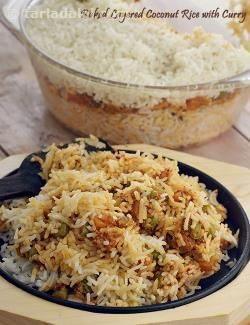 Baked Layered Coconut Rice with Curry recipe | Saatvik Recipes | by Tarla Dalal | Tarladalal.com | #1582