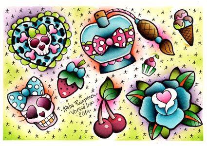 Vorssa Tinte durch Kata Puupponen Tattoo Flash Print von VorssaInk