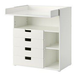 IKEA - STUVA, Changing table with 4 drawers, white, , This changing table grows with your child, flip the top and lower it to easily transform it into a desk or play surface.Practical storage space within close reach. You can always keep a hand on your baby.You can customize the space to suit your needs by adjusting the small shelves to the desired height.