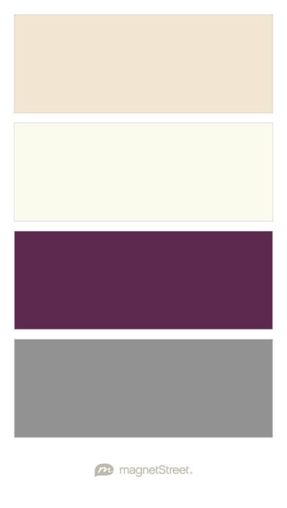 Champagne, Ivory, Eggplant, and Classic Gray Wedding Color Palette - custom color palette created at MagnetStreet.com