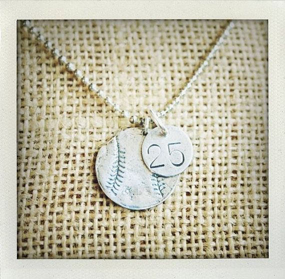 Sterling Silver Baseball Softball Necklace by sosobellatoo on Etsy, $40.00